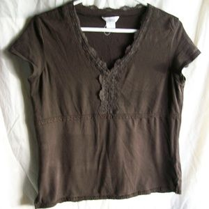 Christopher Banks Lace Detail Short Sleeve Top